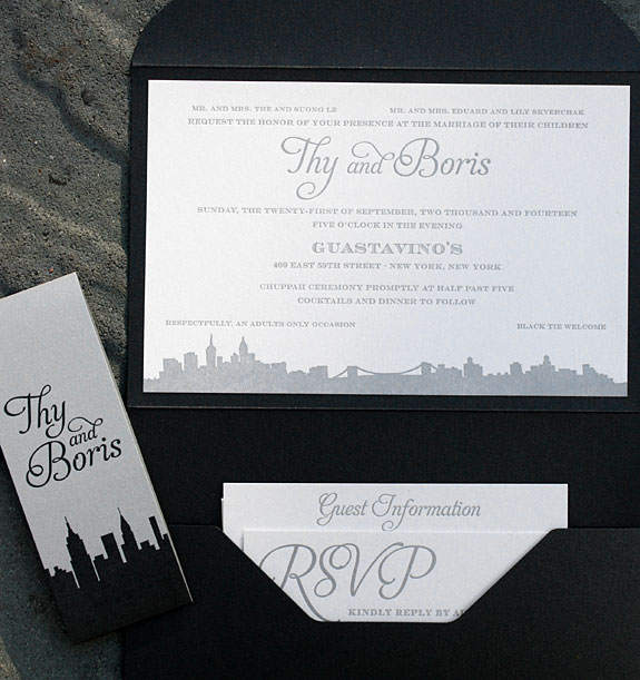 Thy and Boris: City inspired pocket folder invitation that is kept together with a custom belly band. All pieces are letterpressed on metallic paper. Shown with a digitally printed program on metallic paper.