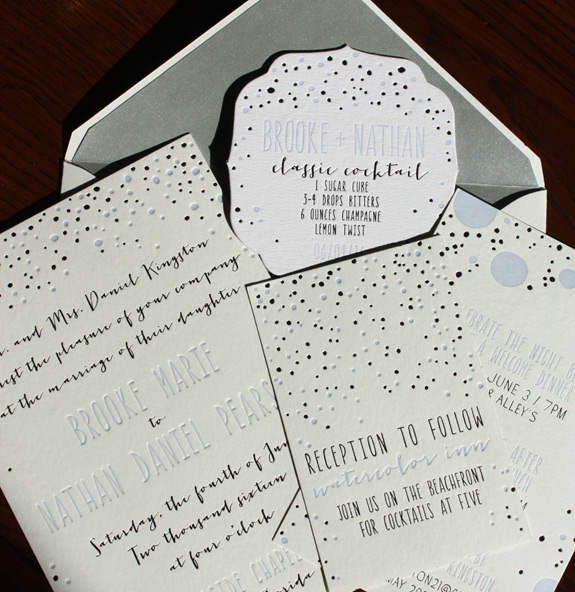 Brooke and Nathan: letterpressed invitation in periwinkle and silver foil by Smock, featuring bubbles, full suite shown including coaster