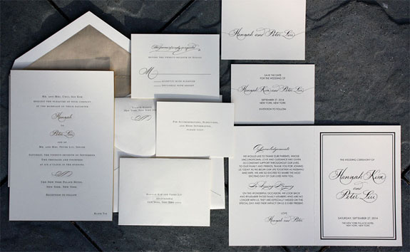 Hannah and Peter: a classic, traditional, formal engraved wedding invitation with hand calligraphy accents, gold beveled and gold liner.