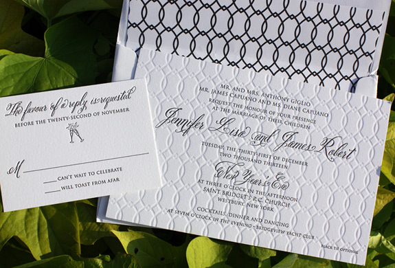 Jennifer and James: this stunning wedding invitation was letterpressed and blind embossed on double thick paper with continuing pattern motif.