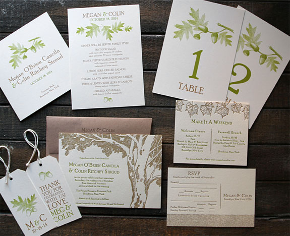 Megan and Colin:  a glorious letterpressed Prospect Park wedding invitation with digitally printed day of items, all with a fall theme.