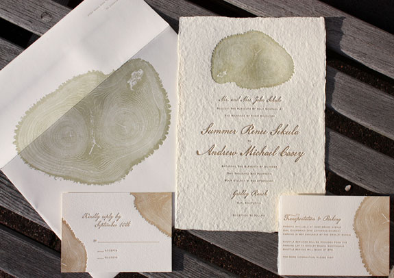 Summer and Andrew: nature is in focus on this fabulous wedding invitation featuring a tree cross-section letterpressed into handmade paper. Such exquisite detail!