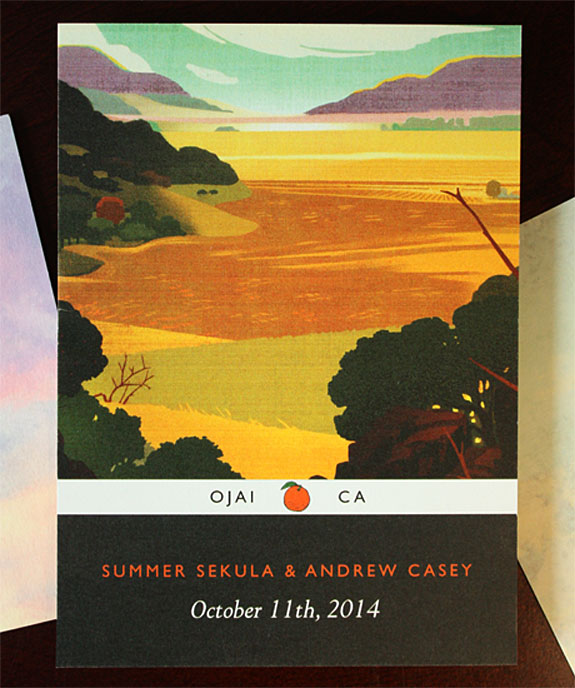 Summer and Andrew: save the date playing off the Penguin Classics book cover design