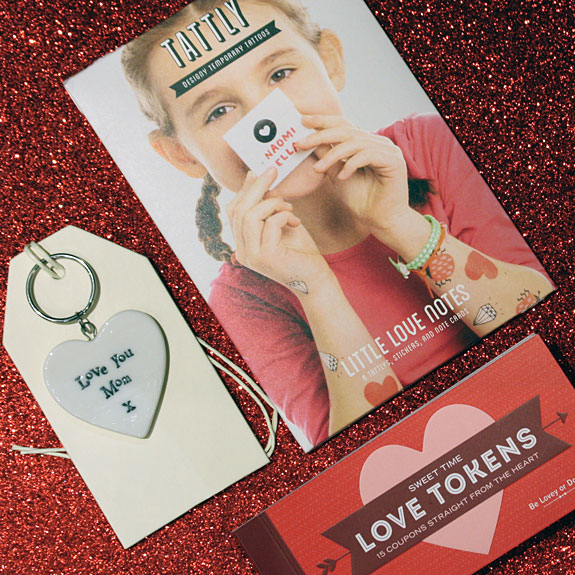 "Love You Mom heart keychain, Tattly  temporary tattoo  ""love notes"", and a little book of Love Tokens"