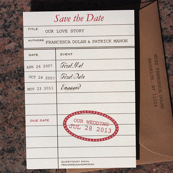 Francesca and Patrick: for book lovers, a library card save the date