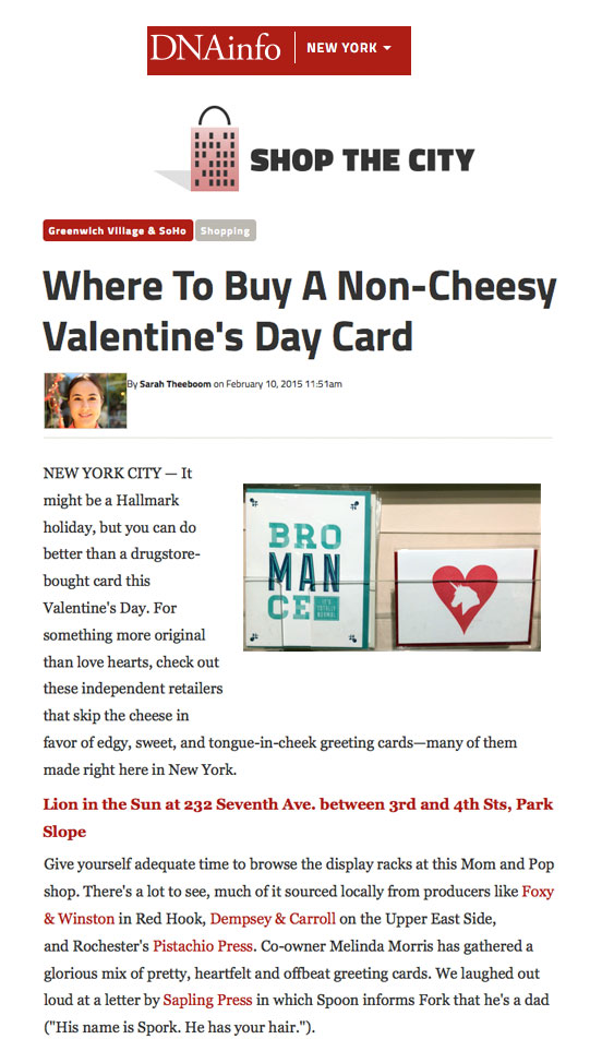 DNAinfo.com feature on Valentines