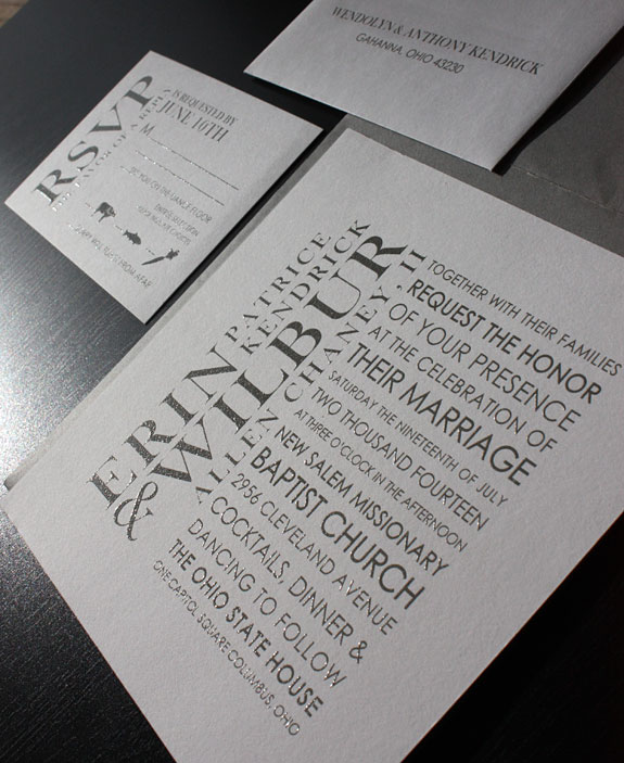 Erin and Wilbur: modern typography gives this wedding invitation a sophisticated elegance, thermography printed with grey ink
