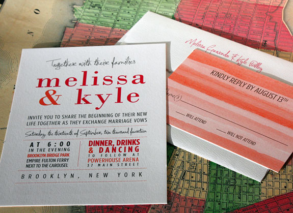 Melissa and Kyle: digitally printed watercolor hombre stripes make this wedding invitation a rainbow of color