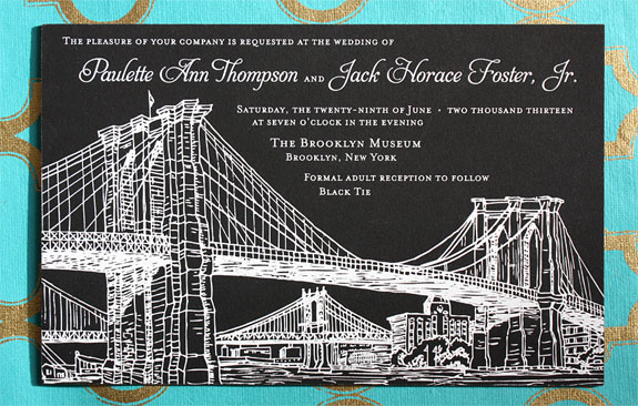 Paulette and Jack: the Seaport suite exclusively from PostScript Brooklyn customized with letterpressed foil on black museum board