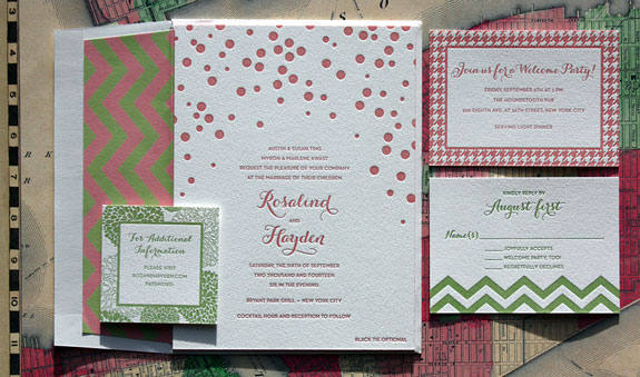 Rosalind and Hayden: we love how the mixed patterns on this Bella Figura letterpressed wedding invitation play off each other, in pink and green