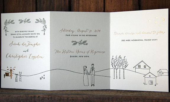 Sarah and Christopher: customized story illustration letterpressed in gold foil including dog portraits and motorcycle