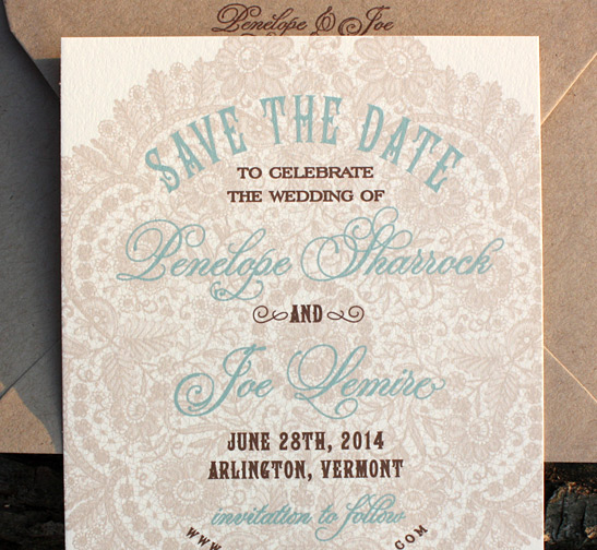 Penelope and Joe: Sutton Place {custom}, Save the Date digitally printed in chocolate, pool and peach