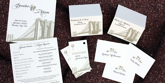 Brooke and Adam: Vinegar Hill and Washington Square placecards, programs, favor tags, digitally printed in black and gold