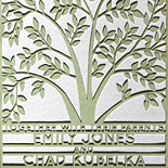 Emily and Chad: laser cut wedding invitation, one piece with backer layer