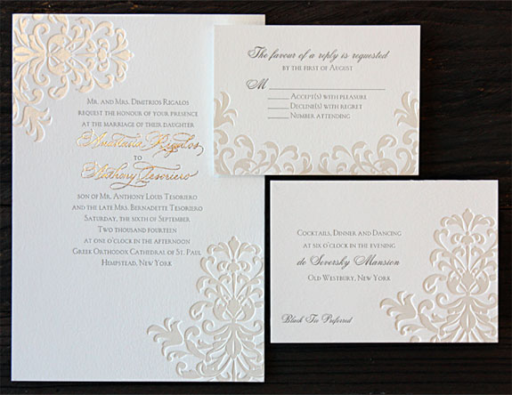 Anastasia and Anthony: elegant two color foil wedding invitation with beautiful custom calligraphy