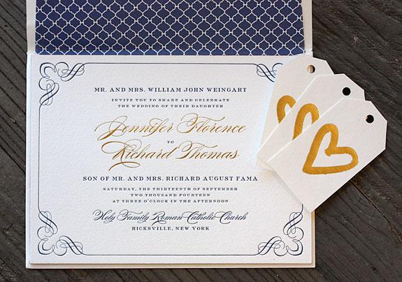 Jennifer and Richard: elegant blue and gold flourished border invitation with patterned liner