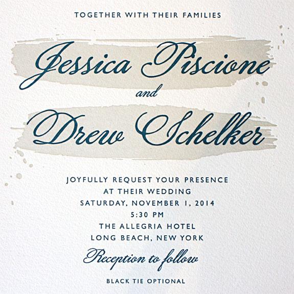 Jessica and Drew:  artistic brush stroke invitation shown with 2 color letterpress
