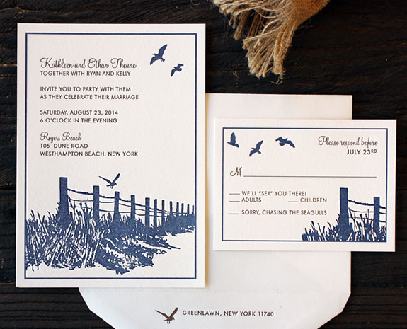 Kathleen and Ethan: PostScript Brooklyn custom illustration beach grass wedding suite