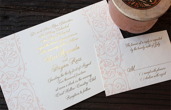 Lori and Bryan: wedding invitation sweet blush and tawny foil with flourished side border
