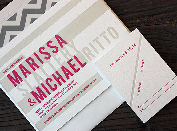Marissa and Michael: bold stripes and chevron letterpress suite
