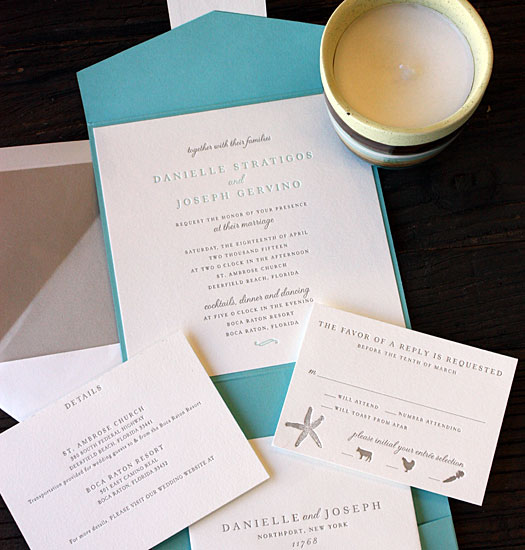 Danielle and Joseph: gorgeous teal and taupe beach theme pocket invitation with starfish tag