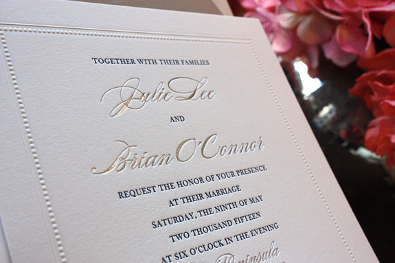 Julie and Brian: beautiful, timeless white, blue, and silver square invitation with embossed dot border