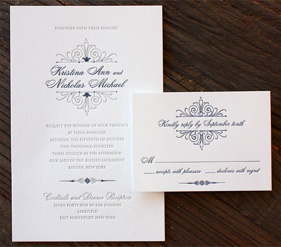 Kristina and Nicholas: blue and grey letterpress Florentine wedding invitation