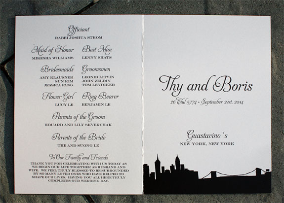 Thy and Boris: Riverside Drive wedding program
