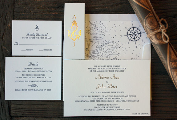 Athena and John: nautical wedding invitation suite with gold foil belly band and hand drawn envelope liner