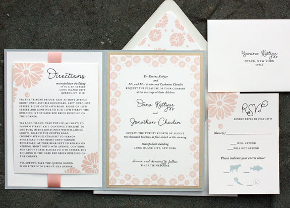 Dana and Jonathan: whimsical floral pattern with ribbon, blush, french blue and gold, digitally printed, layered