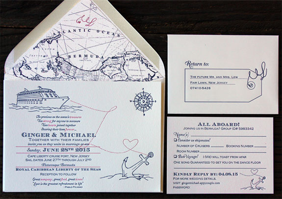 Ginger and Michael: All aboard! Custom ocean themed PostScript Brooklyn invitation with incredible ocean liner and anchor illustrations and personalized map liner