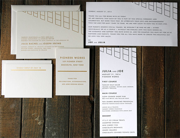 Julia and Joseph: a modern window design gives this invitation a sophisticated contemporary feel, letterpressed in gold foil and black