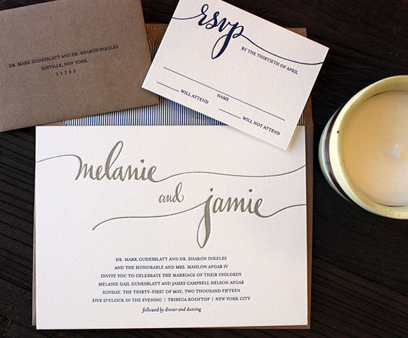 Melanie and Jamie: kraft envelope with blue and white stripe liner and modern hand calligraphy