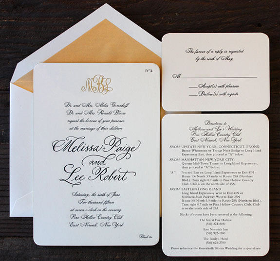 Melissa and Lee: exquisite engraved monogram wedding invitation with rounded corners, gold edge painting and custom calligraphy