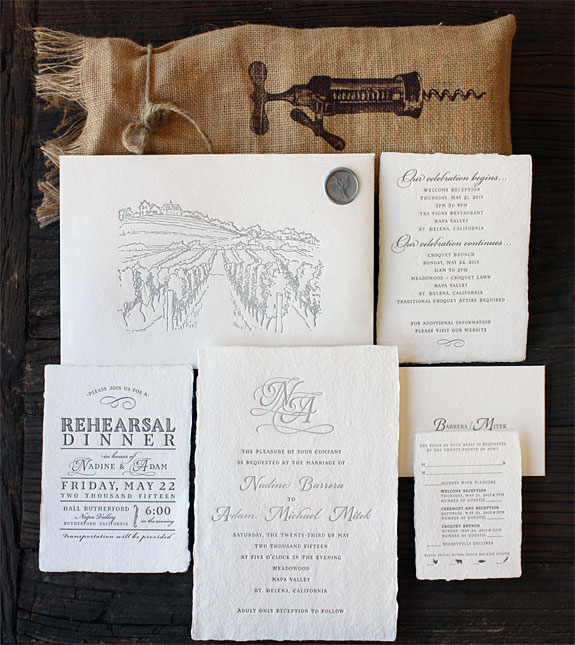 Nadine and Adam: magnificent Napa Valley invitation with wax seal and custom pressed vineyard design on hand made paper with deckled edge featuring the exquisite illustration from the North Fork suite of PostScript Brooklyn