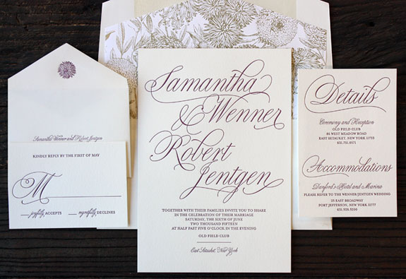 Samantha and Robert: striking copper foil flower invitation with eggplant ink