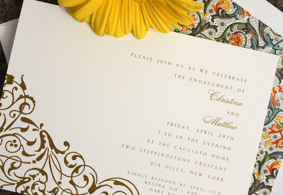 Christina and Matthew: elegant engagement invitation featuring floral patterns and Florentine liner