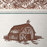 Penelope and Joseph: this letterpress printed invitation achieves a lovely country flavor with it's lace pattern, earthy pallette and barn illustration