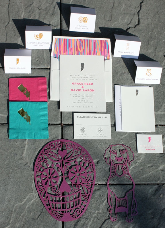Grace and David: wedding invitation and day of wedding accessories including laser cut  table signs and foil stamped cocktail napkins