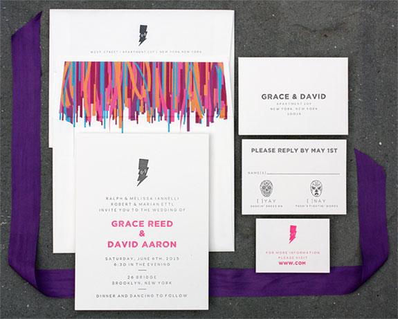 Grace and David: super festive custom illustrated letterpress wedding invitation
