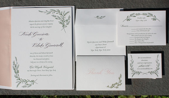 Nicole and Blake: Gorgeous letterpressed invitation in fern and rose gold foil. Rose gold edging and an ombré rose liner make stunning finishing touches.