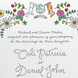 Cali and Daniel: Fun cat monogram, festive florals and a tiny turtle, too. Suite done in watercolors and pewter letterpress.