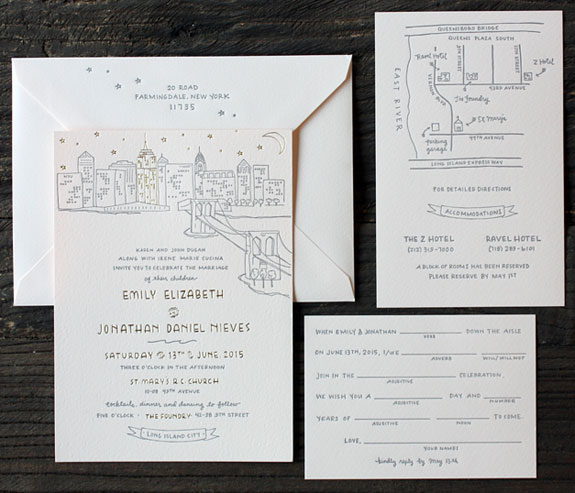 Emily and Jonathan: A romantic illustration of NYC pops on this blush paper with charcoal ink and gold foil. The details of a hand drawn map and mad lib RSVP complete this invitation making it both beautiful and personal.