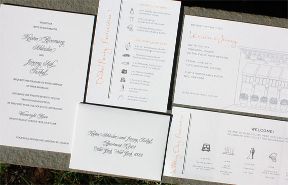 Kristen and Jeremy: Clean and classic, charcoal letterpress invitation shown with fun, custom-illustrated day of pieces.
