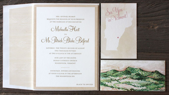 Michaella and Patrick: See you in Vermont! This soft blush and gold invite came all wrapped up in a gorgeous watercolor belly band depicting the mountain view that guests will see during their ceremony!