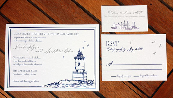 Nicole and Matthew: Custom lighthouse and sailboat illustrations by a local Brooklyn artist. Digitally printed in navy.