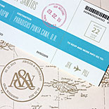 Awilda and Anthony: Destination invitation. Light pink pocket folder with a gold letterpressed map. Ticket themed, digitally printed pieces inside. Invitation features a tear-off RSVP card.