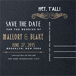 Mallory and Blake: Art Deco save the date postcard with map and gold foil marker on back. Silver and Gold printing on black paper.