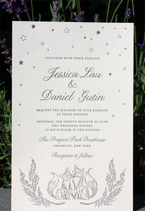 Jessica and Daniel: sweet custom fox illustration done by one of our in-house designers, letterpressed in charcoal