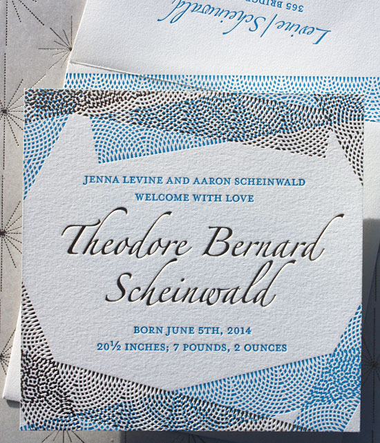 Theodore: a stunning 2 color letterpress birth announcement (it would make an amazing save the date, too!)